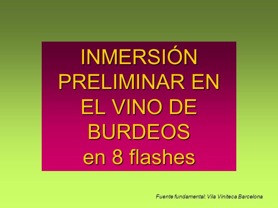 INMERSIÓN PRELIMINAR EN EL VINO DE BURDEOS en 8 flashes Fuente fundamental: Vila Viniteca Barcelona