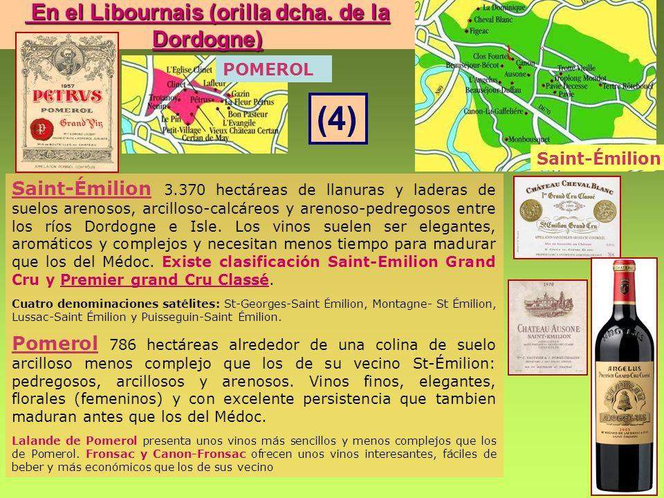 Saint-Émilion 3.370 hectáreas de llanuras y laderas de suelos arenosos, arcilloso-calcáreos y arenoso-pedregosos entre los ríos Dordogne e Isle. Los v