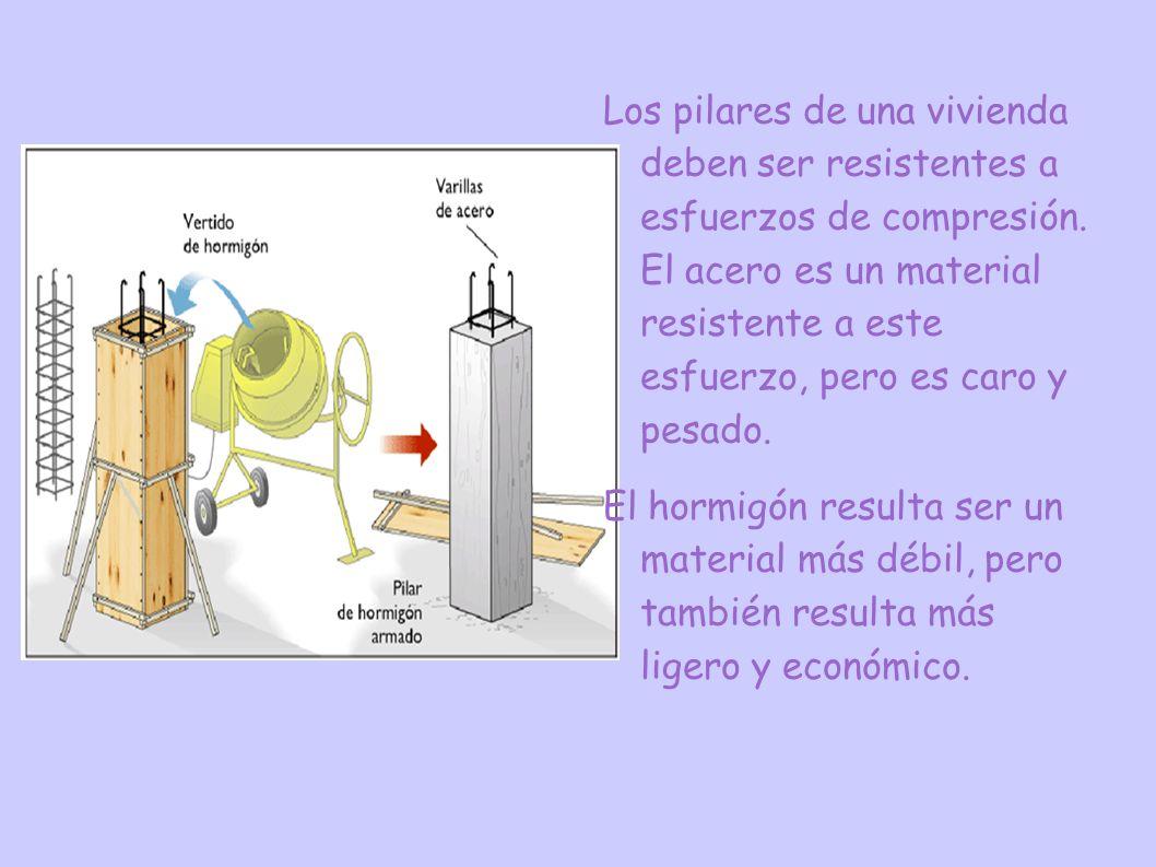Los pilares de una vivienda deben ser resistentes a esfuerzos de compresión. El acero es un material resistente a este esfuerzo, pero es caro y pesado