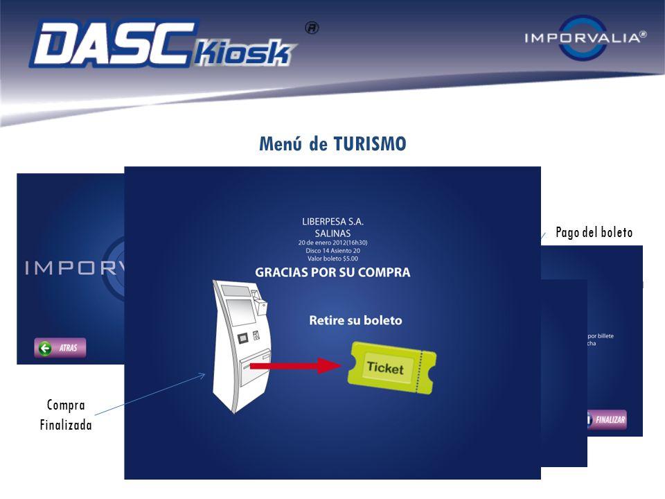 Menú de ESPECTACULOS Selección de Concierto Selección de Localidad Ingreso del dinero Impresión del tiquete Compra finalizada