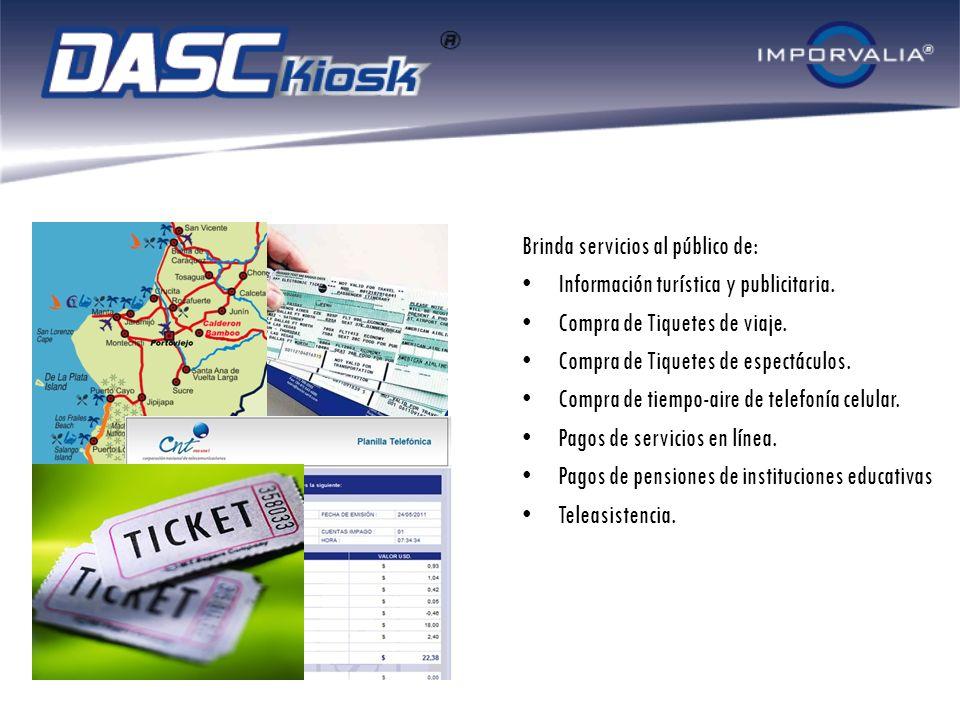 Brinda servicios al público de: Información turística y publicitaria. Compra de Tiquetes de viaje. Compra de Tiquetes de espectáculos. Compra de tiemp