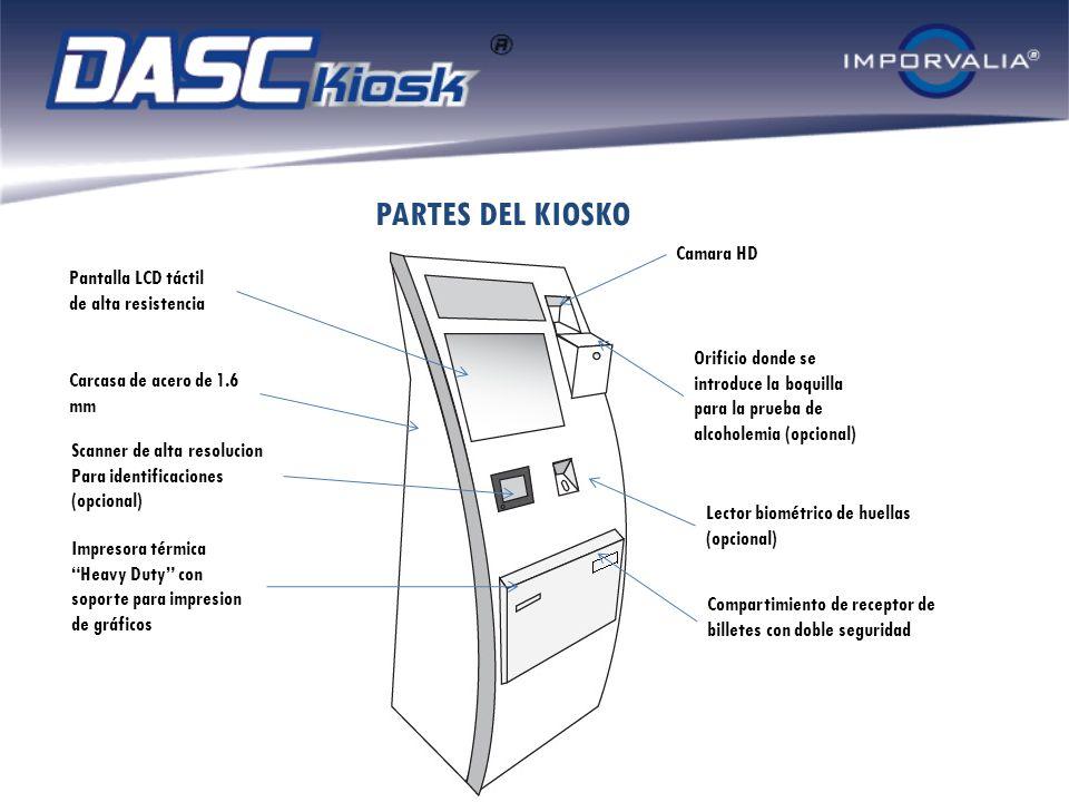 PARTES DEL KIOSKO Carcasa de acero de 1.6 mm Scanner de alta resolucion Para identificaciones (opcional) Impresora térmica Heavy Duty con soporte para