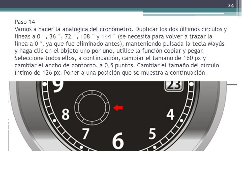 Paso 14 Vamos a hacer la analógica del cronómetro. Duplicar los dos últimos círculos y líneas a 0 °, 36 °, 72 °, 108 ° y 144 ° (se necesita para volve