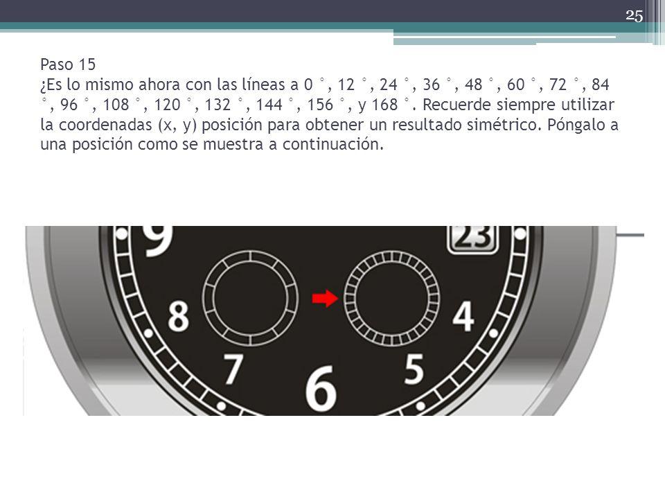 Paso 15 ¿Es lo mismo ahora con las líneas a 0 °, 12 °, 24 °, 36 °, 48 °, 60 °, 72 °, 84 °, 96 °, 108 °, 120 °, 132 °, 144 °, 156 °, y 168 °. Recuerde