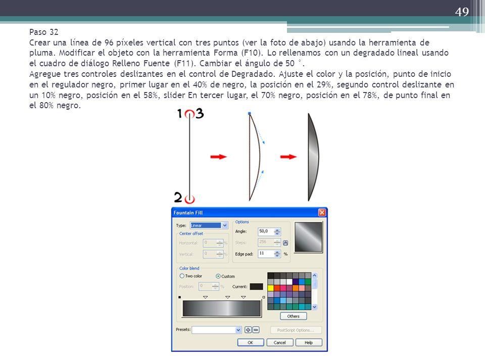 Paso 32 Crear una línea de 96 píxeles vertical con tres puntos (ver la foto de abajo) usando la herramienta de pluma. Modificar el objeto con la herra