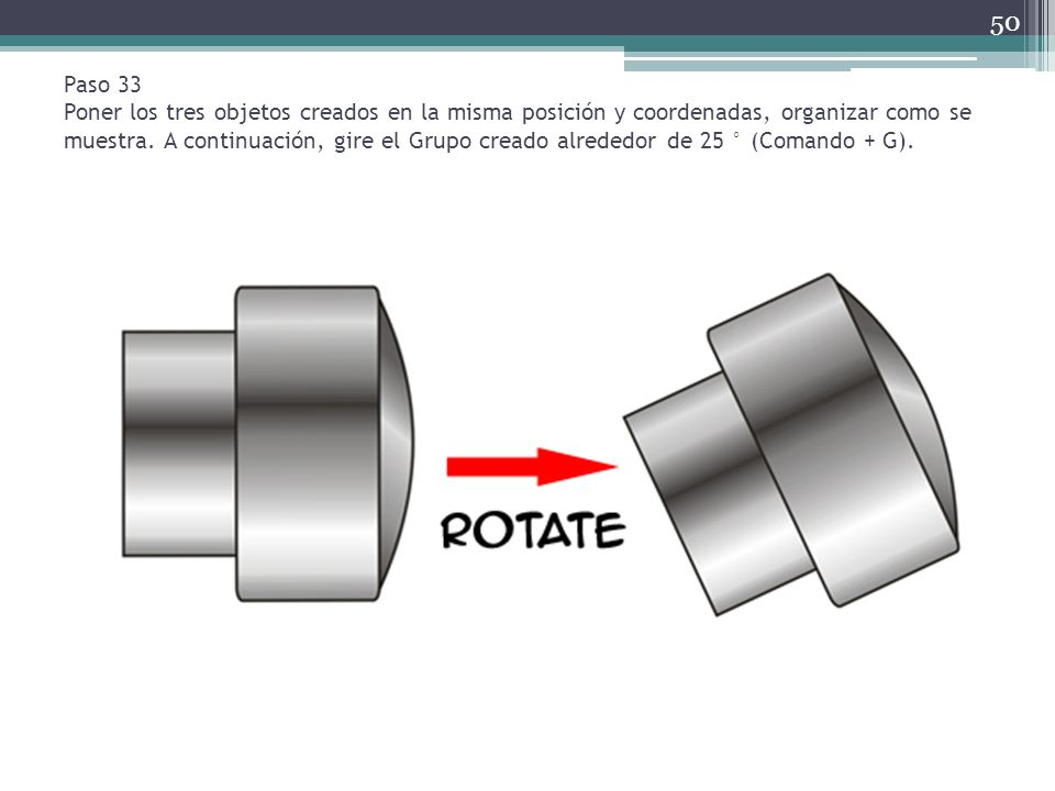 Paso 33 Poner los tres objetos creados en la misma posición y coordenadas, organizar como se muestra. A continuación, gire el Grupo creado alrededor d