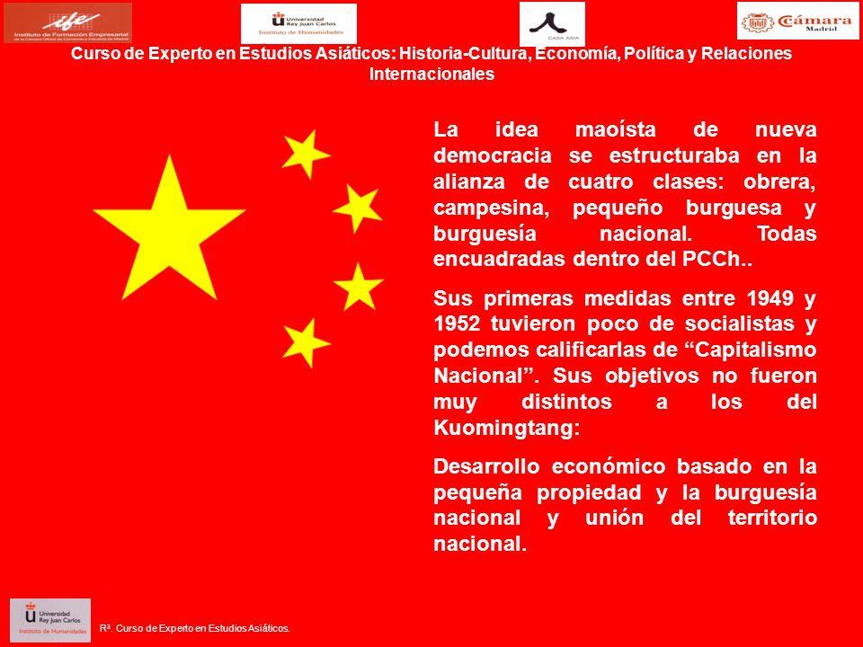 La idea maoísta de nueva democracia se estructuraba en la alianza de cuatro clases: obrera, campesina, pequeño burguesa y burguesía nacional.