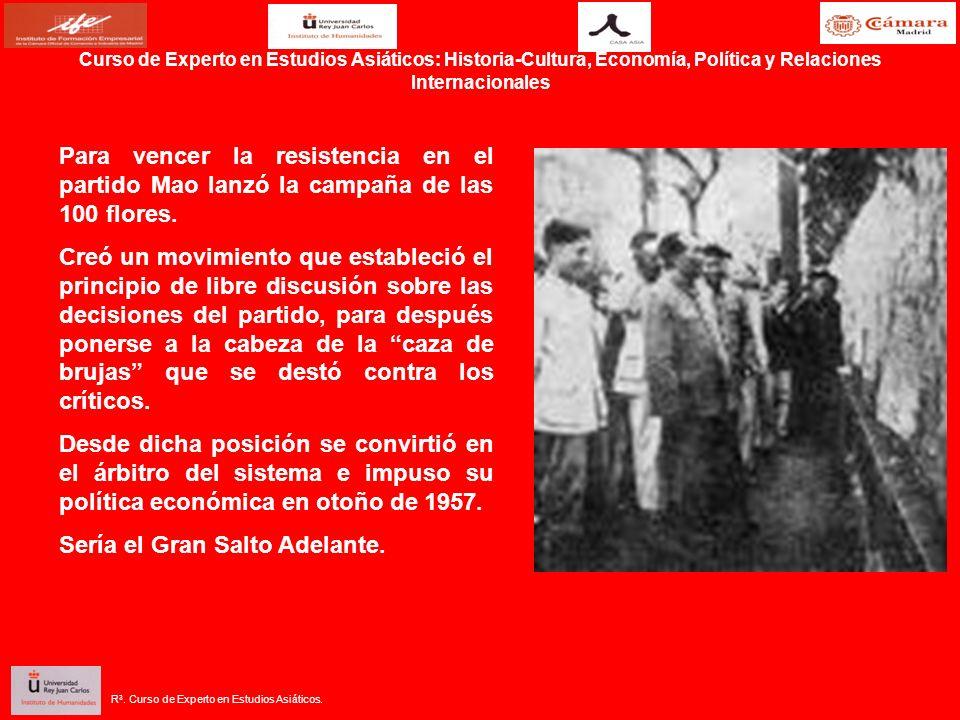 Para vencer la resistencia en el partido Mao lanzó la campaña de las 100 flores. Creó un movimiento que estableció el principio de libre discusión sob