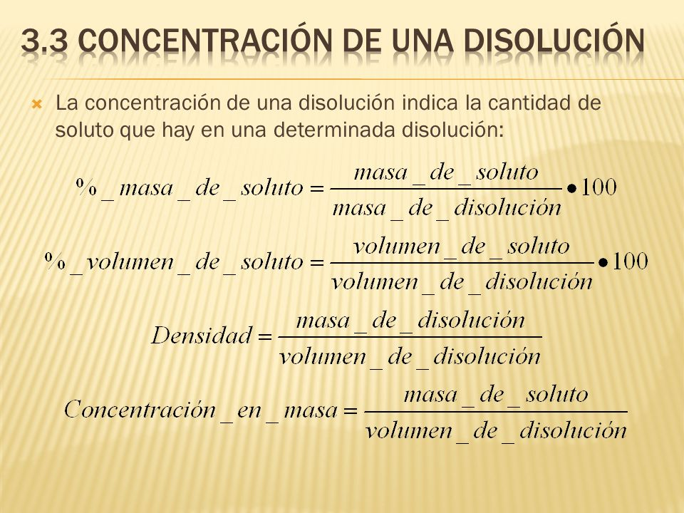 La concentración de una disolución indica la cantidad de soluto que hay en una determinada disolución: