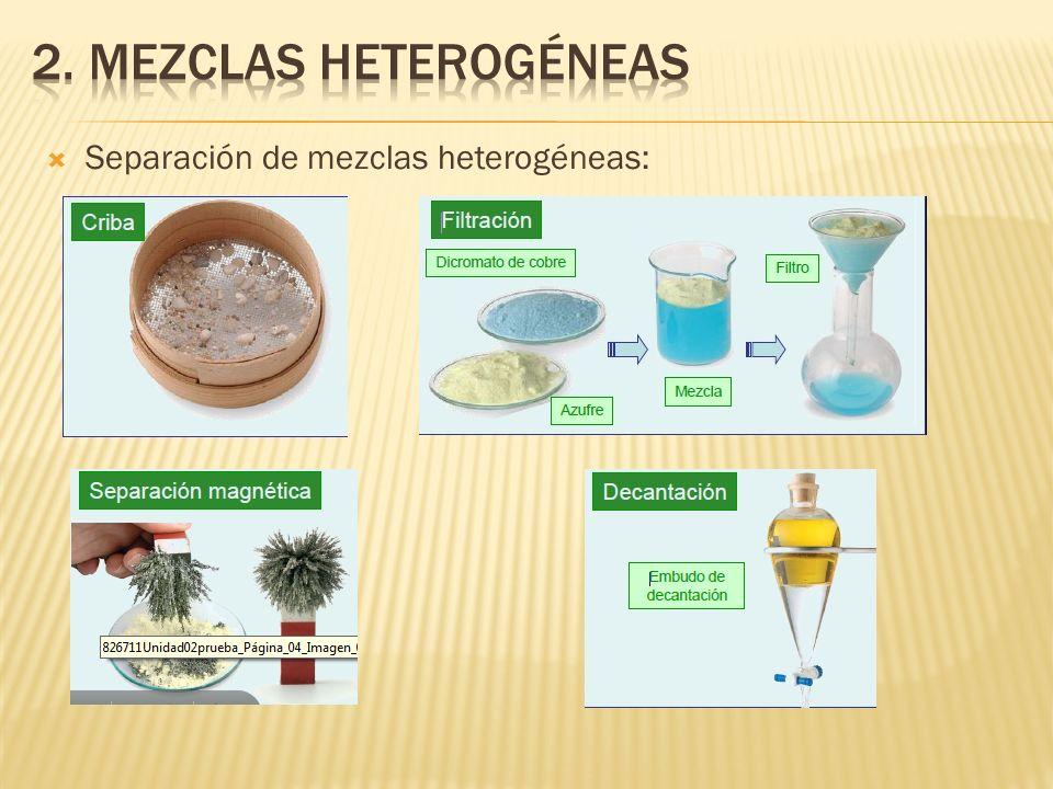 Separación de mezclas heterogéneas: