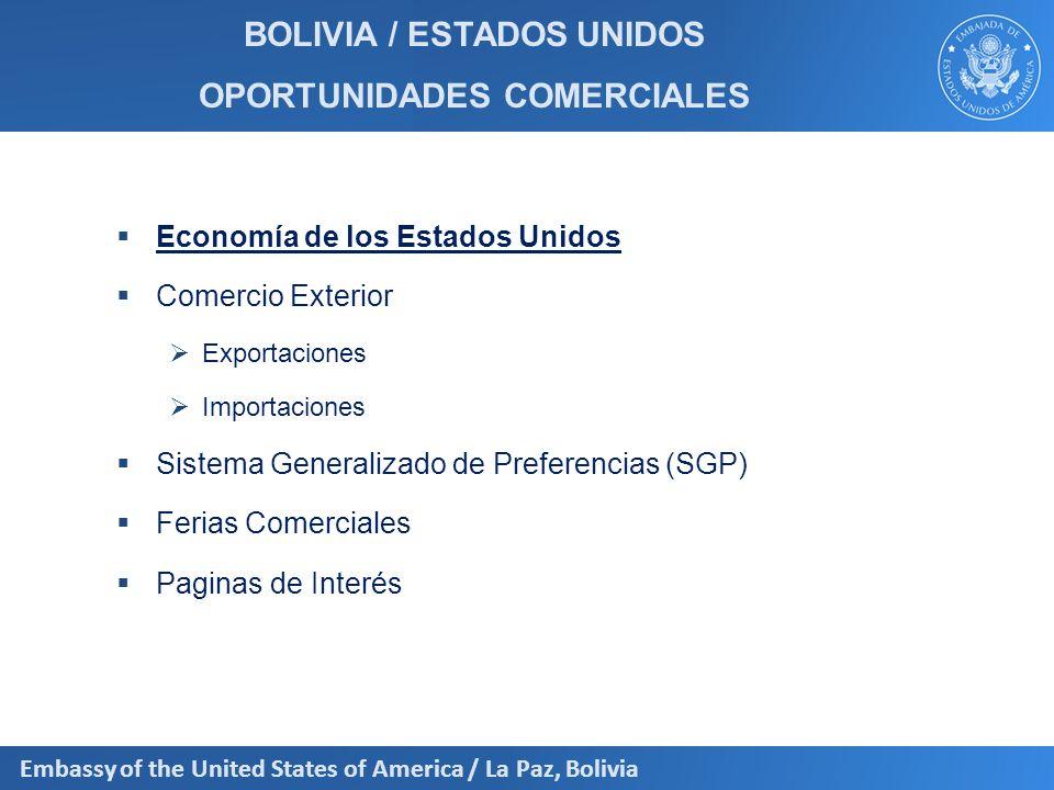 Embassy of the United States of America / La Paz, Bolivia Importaciones: Gestión 2011 PAISESUSD CIF Brasil1380,17 Argentina951,88 China937,23 Estados Unidos851,07 Japón579,89 Venezuela524,94 Perú467,23 Chile307,63 Colombia192,26 México185,14 Suecia161,10 Alemania140,11 x 1.000.000