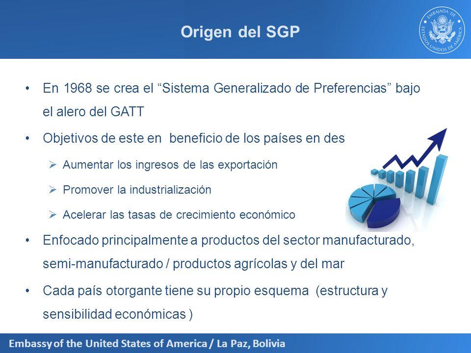 Embassy of the United States of America / La Paz, Bolivia Origen del SGP En 1968 se crea el Sistema Generalizado de Preferencias bajo el alero del GAT