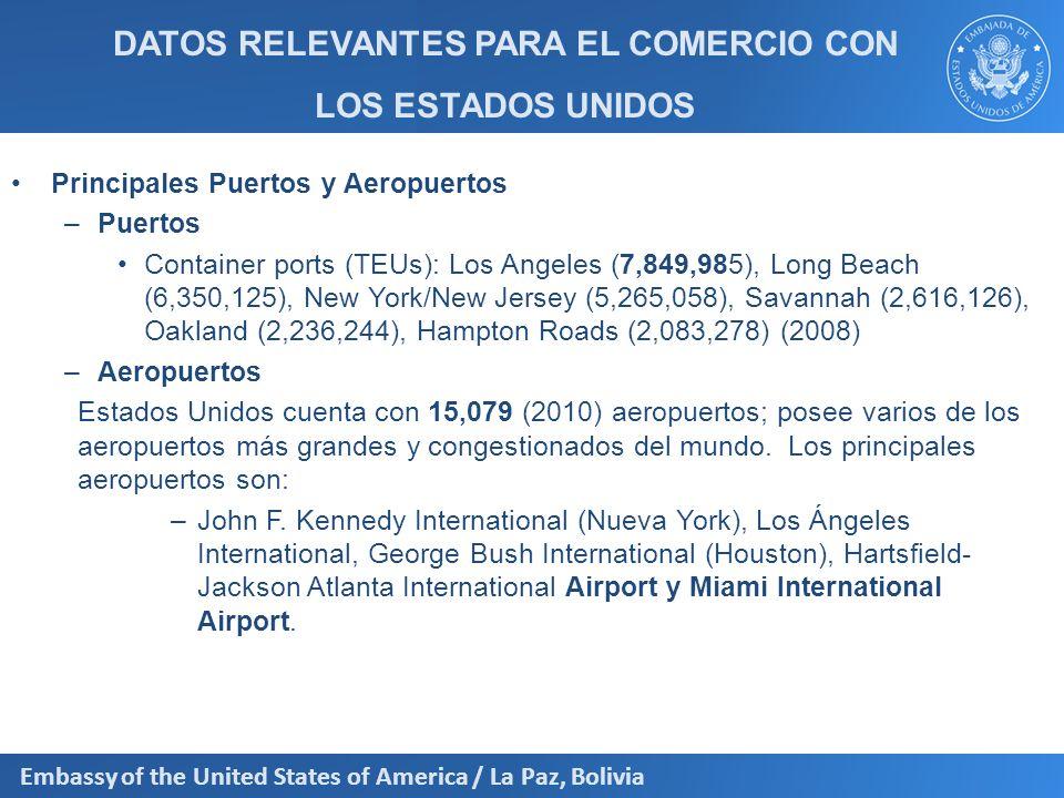 Embassy of the United States of America / La Paz, Bolivia 20 Principales Productos Exportados a los EEUU 2011 Estaño en bruto209,428,971 Minerales de volframio (tungsteno) y sus concentrados.