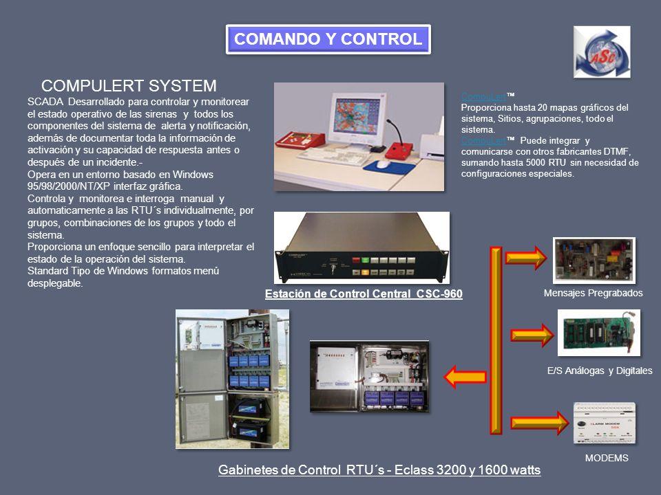 COMPULERT SYSTEM SCADA Desarrollado para controlar y monitorear el estado operativo de las sirenas y todos los componentes del sistema de alerta y not