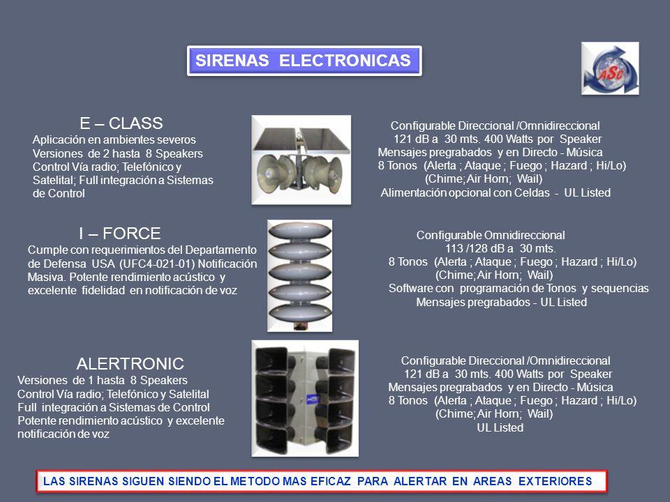 E – CLASS Aplicación en ambientes severos Versiones de 2 hasta 8 Speakers Control Vía radio; Telefónico y Satelital; Full integración a Sistemas de Co
