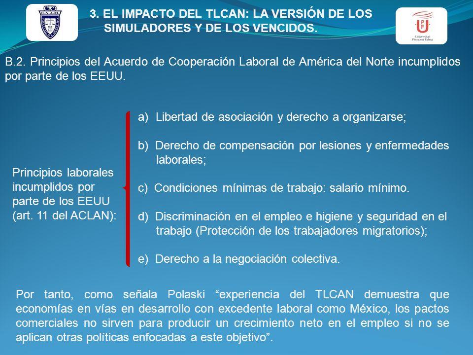 B.2. Principios del Acuerdo de Cooperación Laboral de América del Norte incumplidos por parte de los EEUU. Principios laborales incumplidos por parte