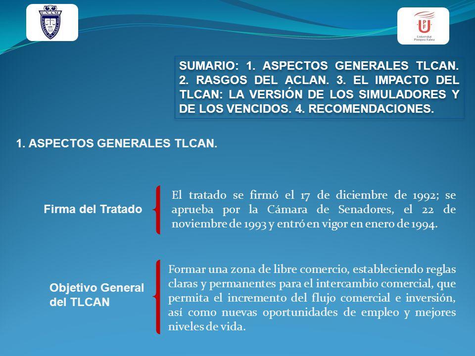 SUMARIO: 1. ASPECTOS GENERALES TLCAN. 2. RASGOS DEL ACLAN. 3. EL IMPACTO DEL TLCAN: LA VERSIÓN DE LOS SIMULADORES Y DE LOS VENCIDOS. 4. RECOMENDACIONE