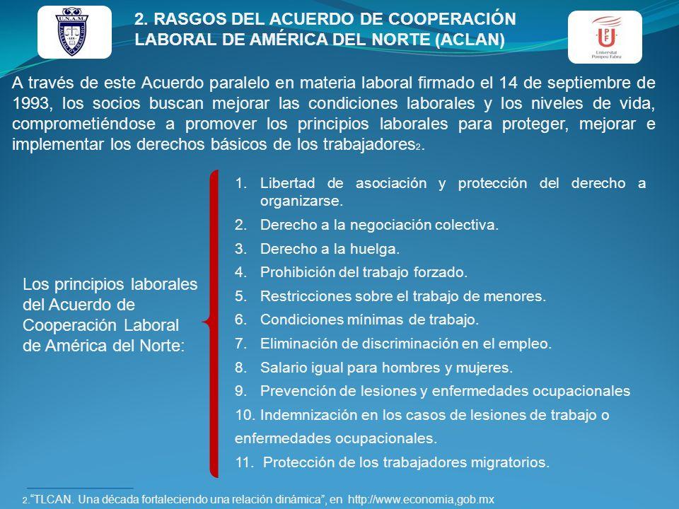 2. RASGOS DEL ACUERDO DE COOPERACIÓN LABORAL DE AMÉRICA DEL NORTE (ACLAN) A través de este Acuerdo paralelo en materia laboral firmado el 14 de septie