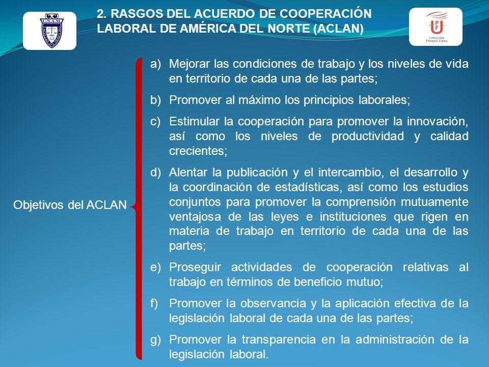 Objetivos del ACLAN a)Mejorar las condiciones de trabajo y los niveles de vida en territorio de cada una de las partes; b)Promover al máximo los princ