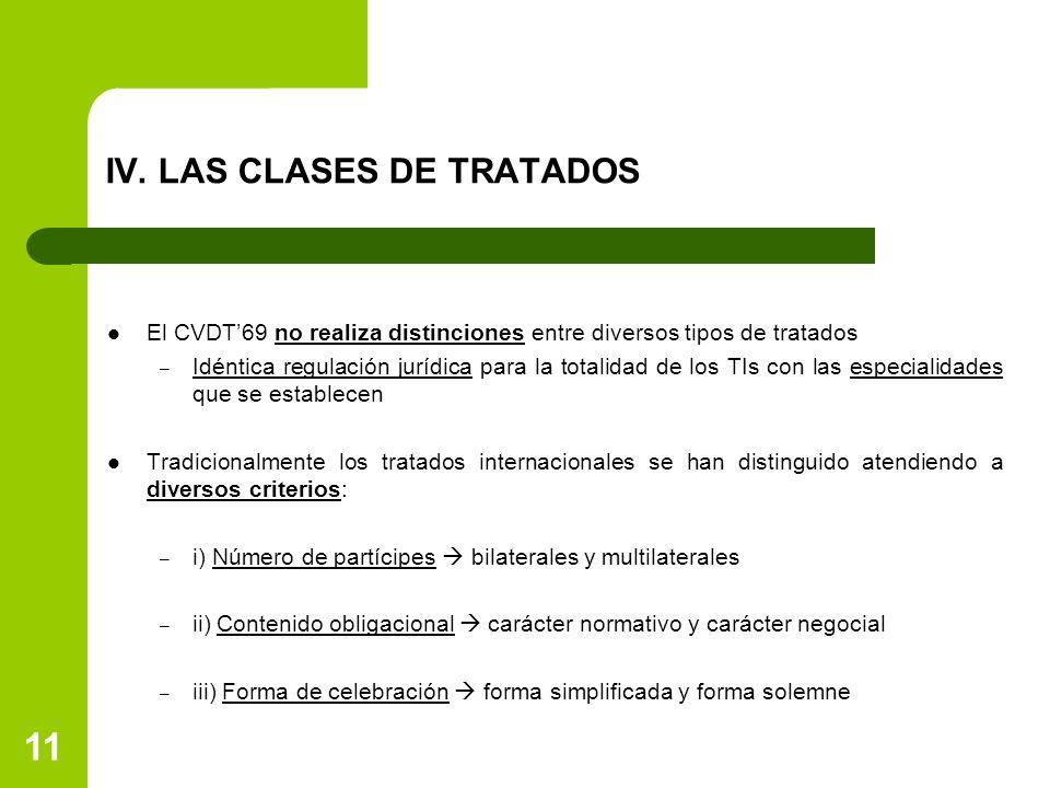 IV. LAS CLASES DE TRATADOS El CVDT69 no realiza distinciones entre diversos tipos de tratados – Idéntica regulación jurídica para la totalidad de los