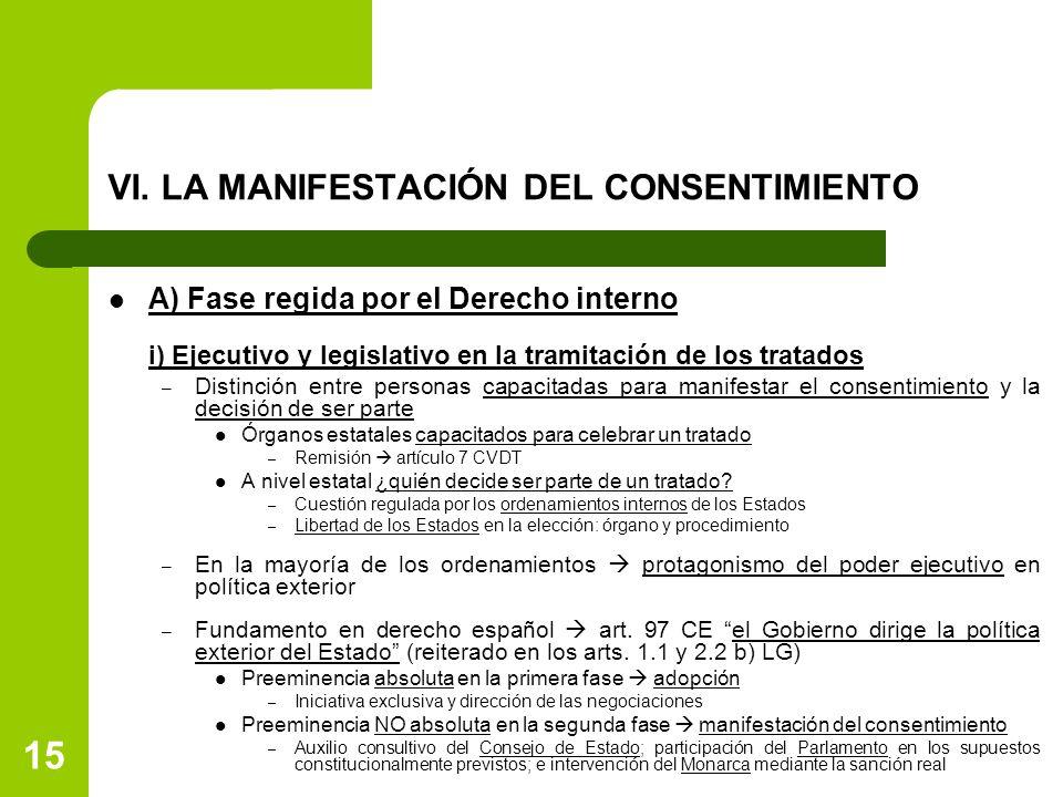 VI. LA MANIFESTACIÓN DEL CONSENTIMIENTO A) Fase regida por el Derecho interno i) Ejecutivo y legislativo en la tramitación de los tratados – Distinció