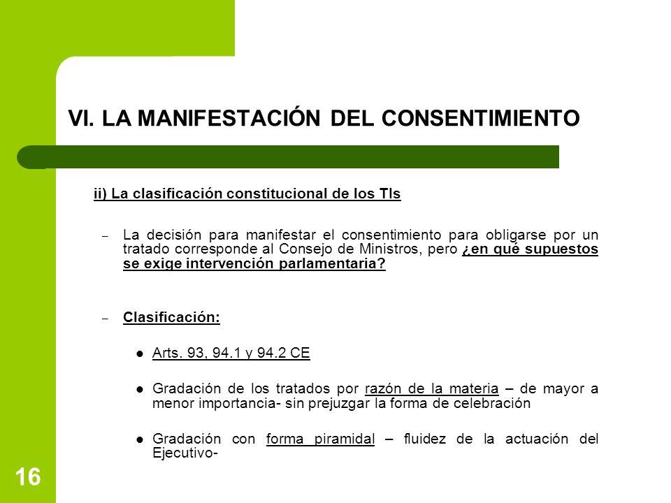 VI. LA MANIFESTACIÓN DEL CONSENTIMIENTO ii) La clasificación constitucional de los TIs – La decisión para manifestar el consentimiento para obligarse