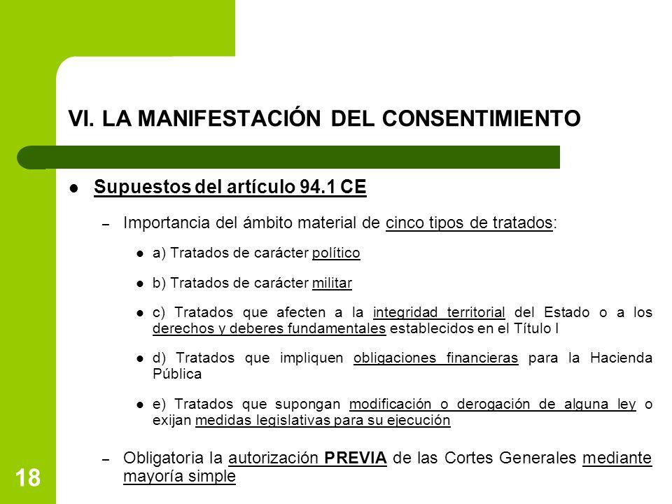 VI. LA MANIFESTACIÓN DEL CONSENTIMIENTO Supuestos del artículo 94.1 CE – Importancia del ámbito material de cinco tipos de tratados: a) Tratados de ca