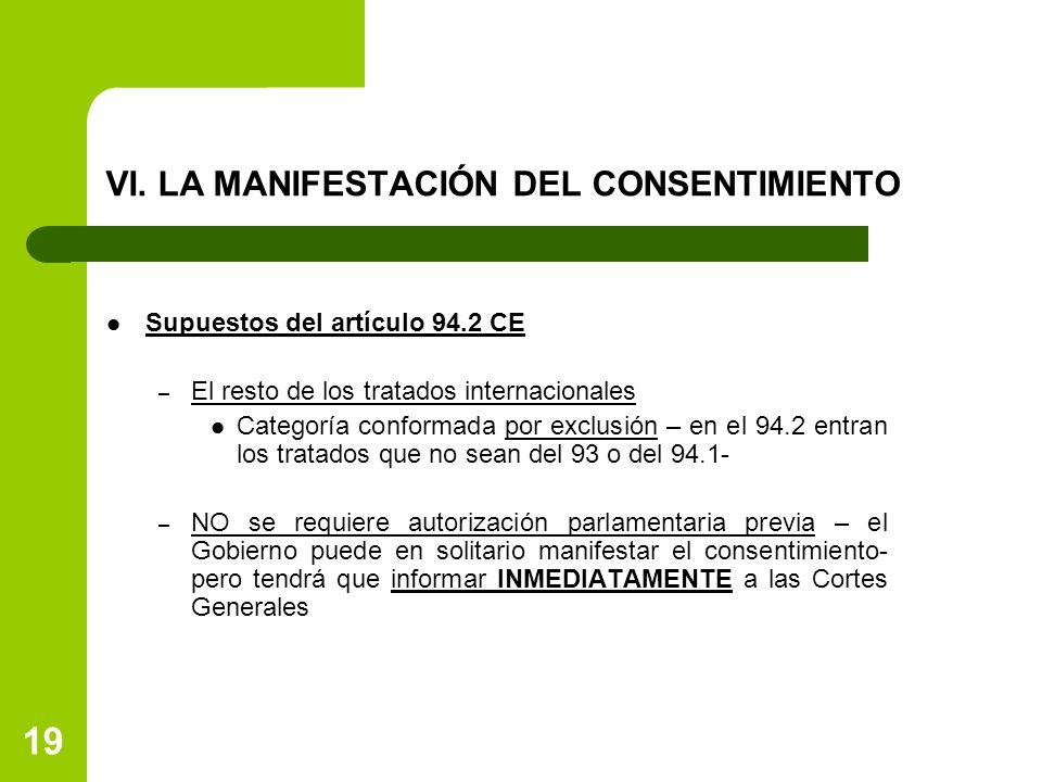 VI. LA MANIFESTACIÓN DEL CONSENTIMIENTO Supuestos del artículo 94.2 CE – El resto de los tratados internacionales Categoría conformada por exclusión –