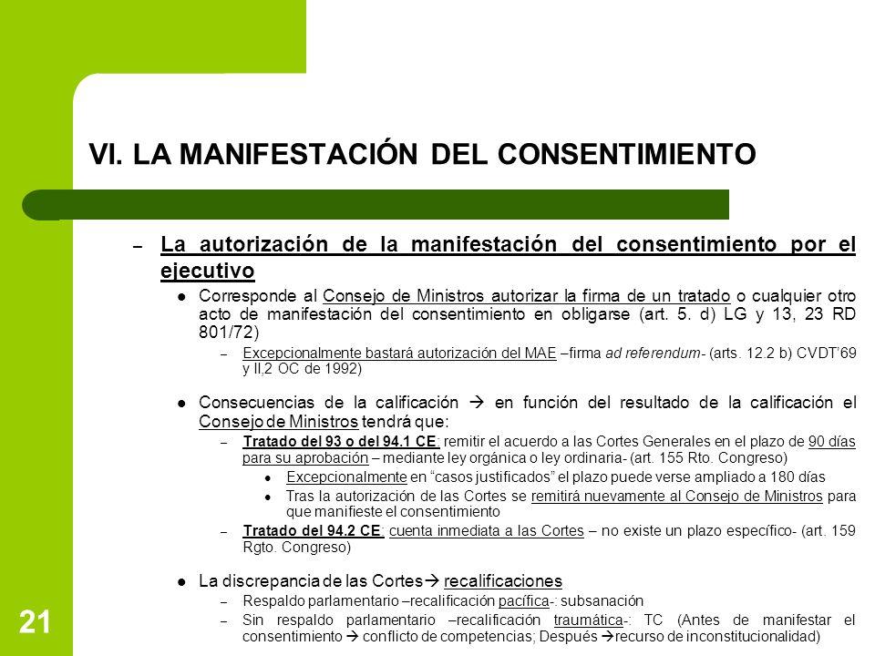 VI. LA MANIFESTACIÓN DEL CONSENTIMIENTO – La autorización de la manifestación del consentimiento por el ejecutivo Corresponde al Consejo de Ministros