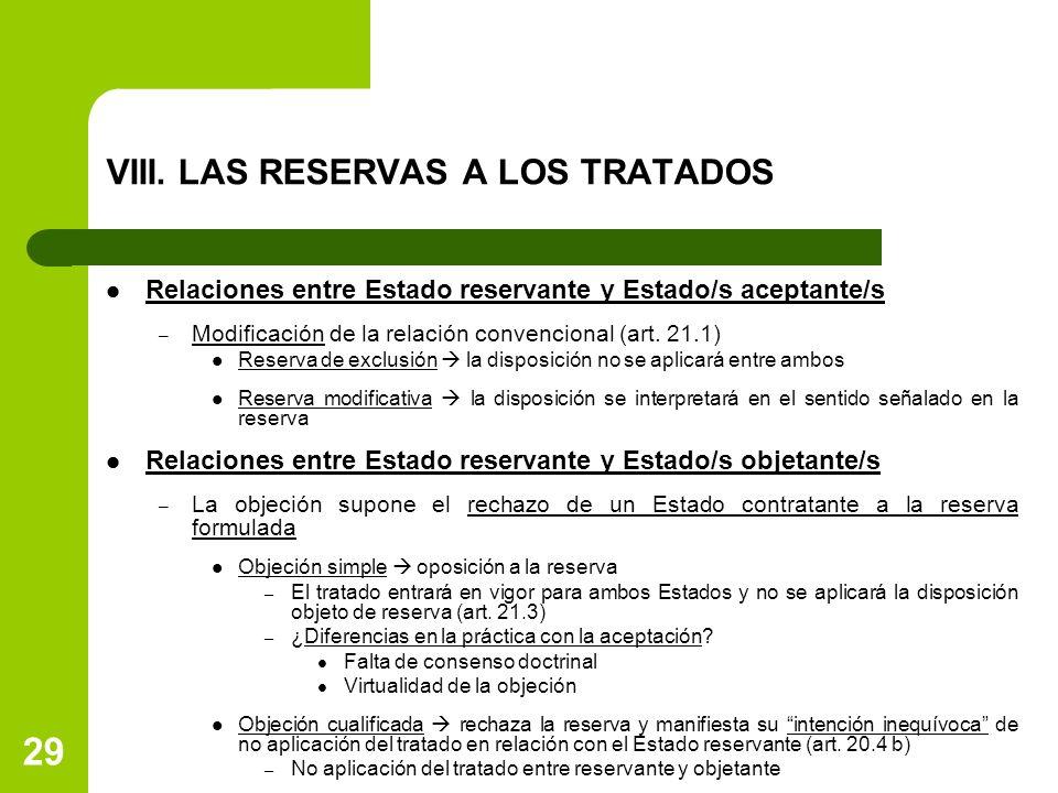 29 VIII. LAS RESERVAS A LOS TRATADOS Relaciones entre Estado reservante y Estado/s aceptante/s – Modificación de la relación convencional (art. 21.1)