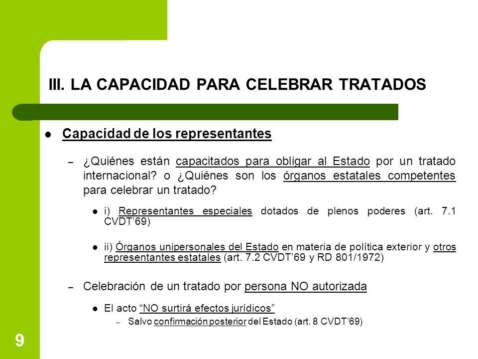 III. LA CAPACIDAD PARA CELEBRAR TRATADOS Capacidad de los representantes – ¿Quiénes están capacitados para obligar al Estado por un tratado internacio
