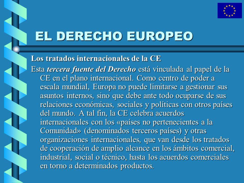 EL DERECHO EUROPEO Los tratados internacionales de la CE Esta tercera fuente del Derecho está vinculada al papel de la CE en el plano internacional. C