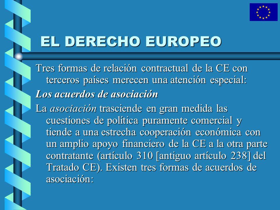EL DERECHO EUROPEO Tres formas de relación contractual de la CE con terceros países merecen una atención especial: Los acuerdos de asociación La asoci