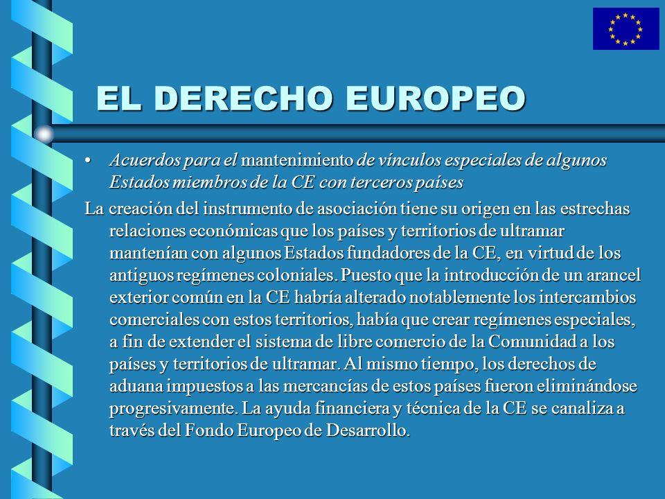 EL DERECHO EUROPEO Acuerdos para el mantenimiento de vínculos especiales de algunos Estados miembros de la CE con terceros paísesAcuerdos para el mant