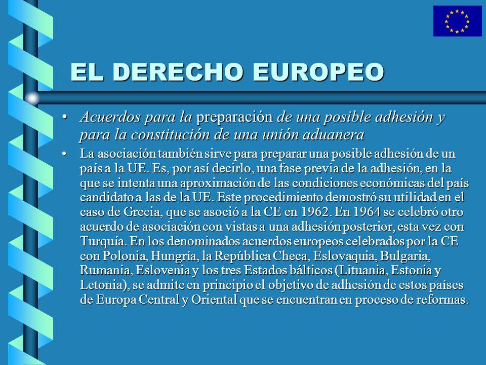 EL DERECHO EUROPEO Acuerdos para la preparación de una posible adhesión y para la constitución de una unión aduaneraAcuerdos para la preparación de un