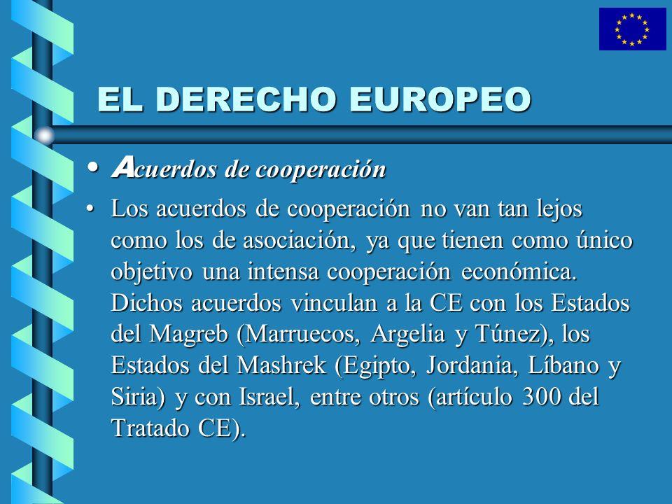 EL DERECHO EUROPEO A cuerdos de cooperaciónA cuerdos de cooperación Los acuerdos de cooperación no van tan lejos como los de asociación, ya que tienen