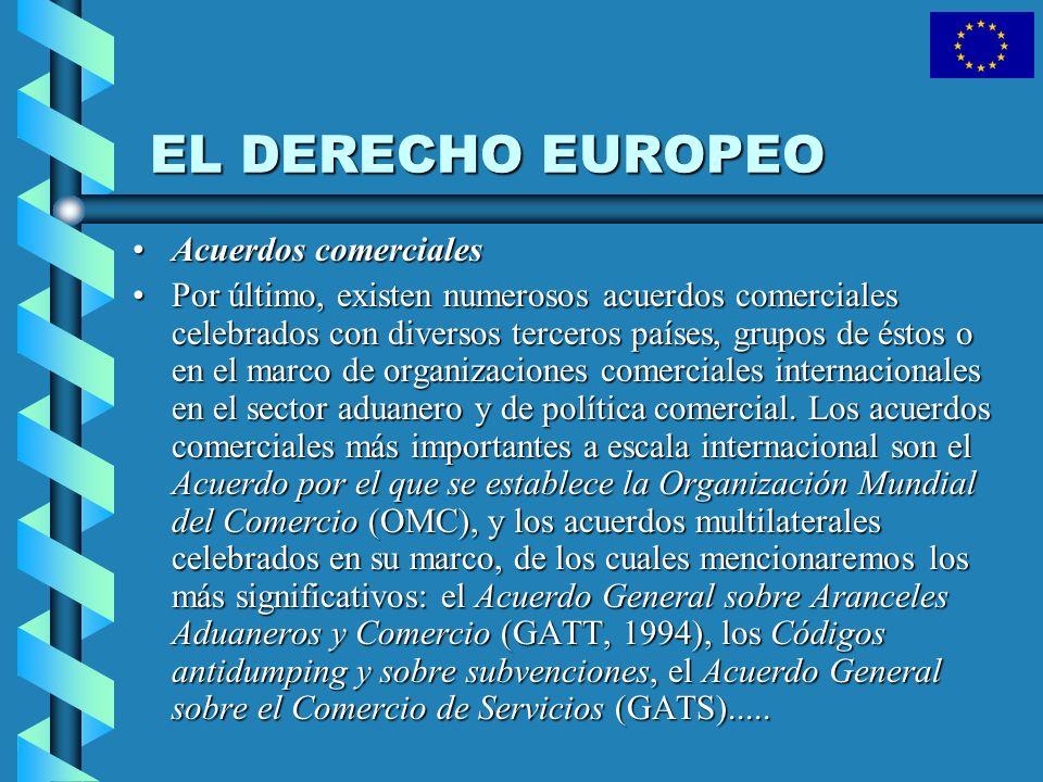 EL DERECHO EUROPEO Acuerdos comercialesAcuerdos comerciales Por último, existen numerosos acuerdos comerciales celebrados con diversos terceros países