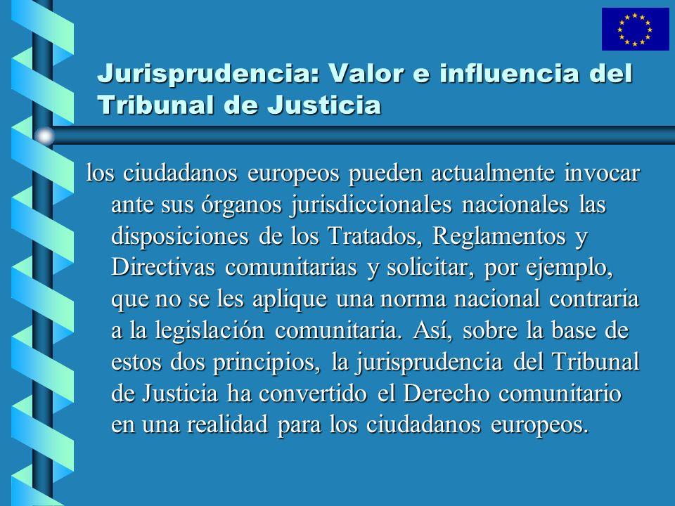 Jurisprudencia: Valor e influencia del Tribunal de Justicia los ciudadanos europeos pueden actualmente invocar ante sus órganos jurisdiccionales nacio