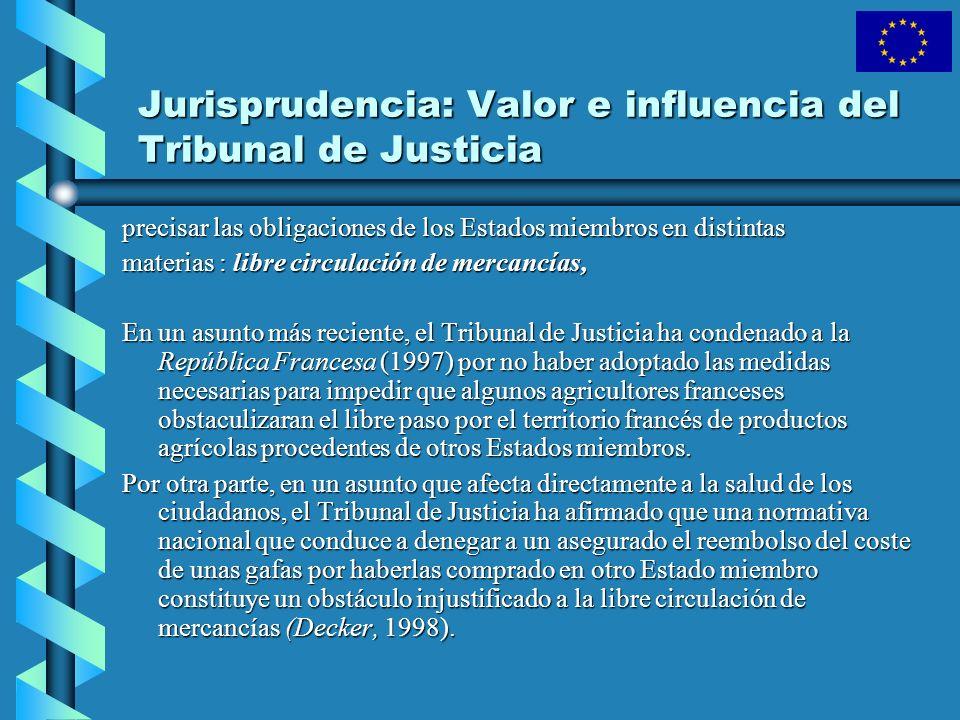 Jurisprudencia: Valor e influencia del Tribunal de Justicia precisar las obligaciones de los Estados miembros en distintas materias : libre circulació