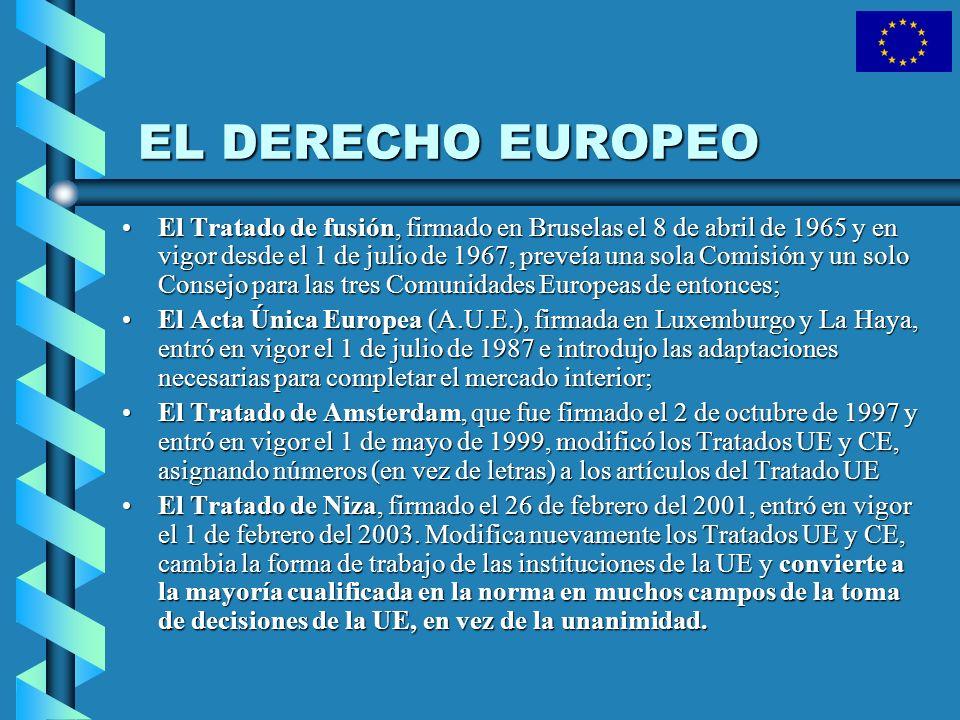 EL DERECHO EUROPEO El Tratado de fusión, firmado en Bruselas el 8 de abril de 1965 y en vigor desde el 1 de julio de 1967, preveía una sola Comisión y