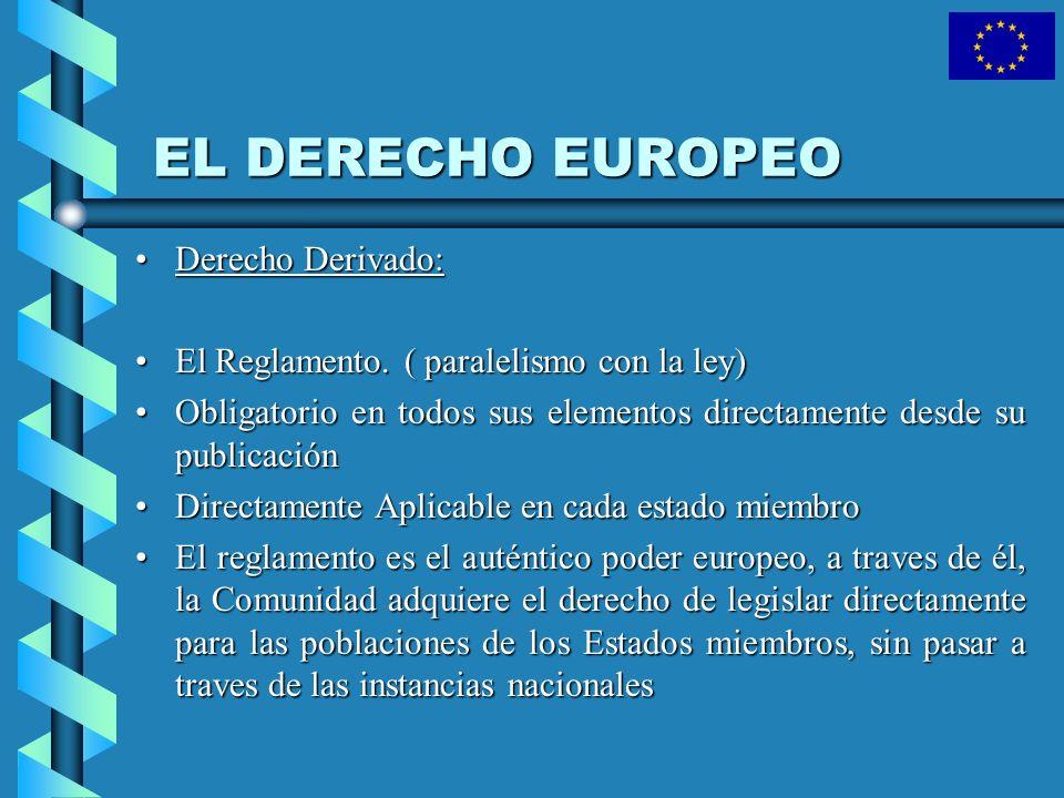 EL DERECHO EUROPEO Derecho Derivado:Derecho Derivado: El Reglamento. ( paralelismo con la ley)El Reglamento. ( paralelismo con la ley) Obligatorio en
