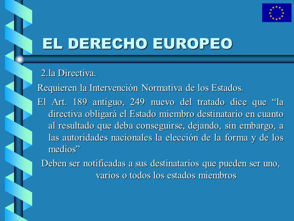 EL DERECHO EUROPEO 2.la Directiva. 2.la Directiva. Requieren la Intervención Normativa de los Estados. El Art. 189 antiguo, 249 nuevo del tratado dice