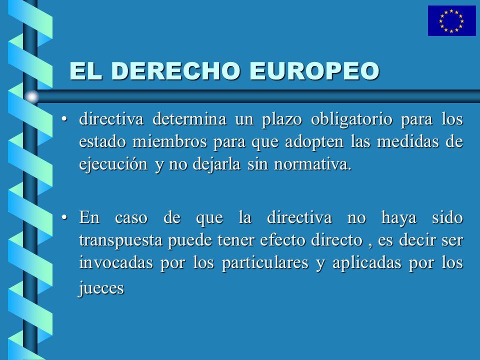 EL DERECHO EUROPEO directiva determina un plazo obligatorio para los estado miembros para que adopten las medidas de ejecución y no dejarla sin normat