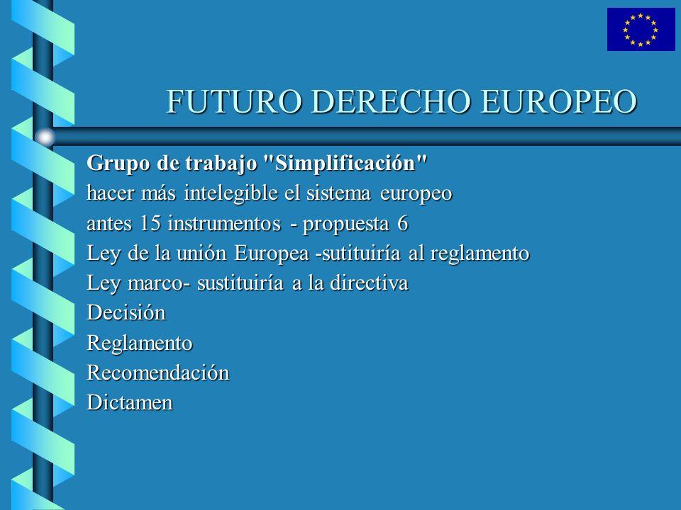 EL DERECHO EUROPEO Esta relación no es exhaustiva, pues el Derecho comunitario derivado comprende otros actos jurídicos que no pueden catalogarse en la misma.