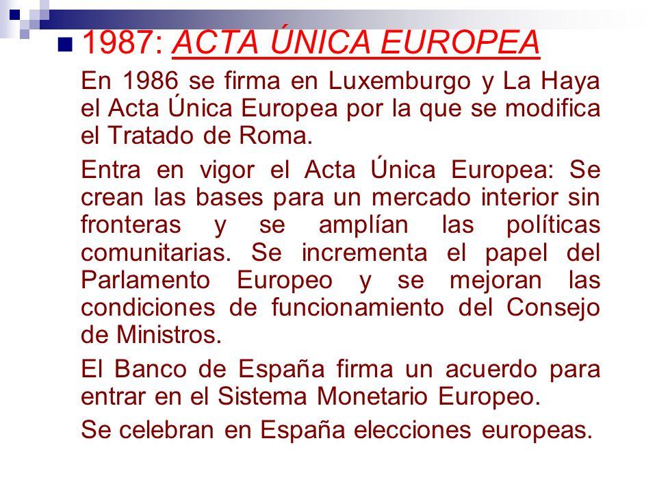 1987: ACTA ÚNICA EUROPEA En 1986 se firma en Luxemburgo y La Haya el Acta Única Europea por la que se modifica el Tratado de Roma. Entra en vigor el A