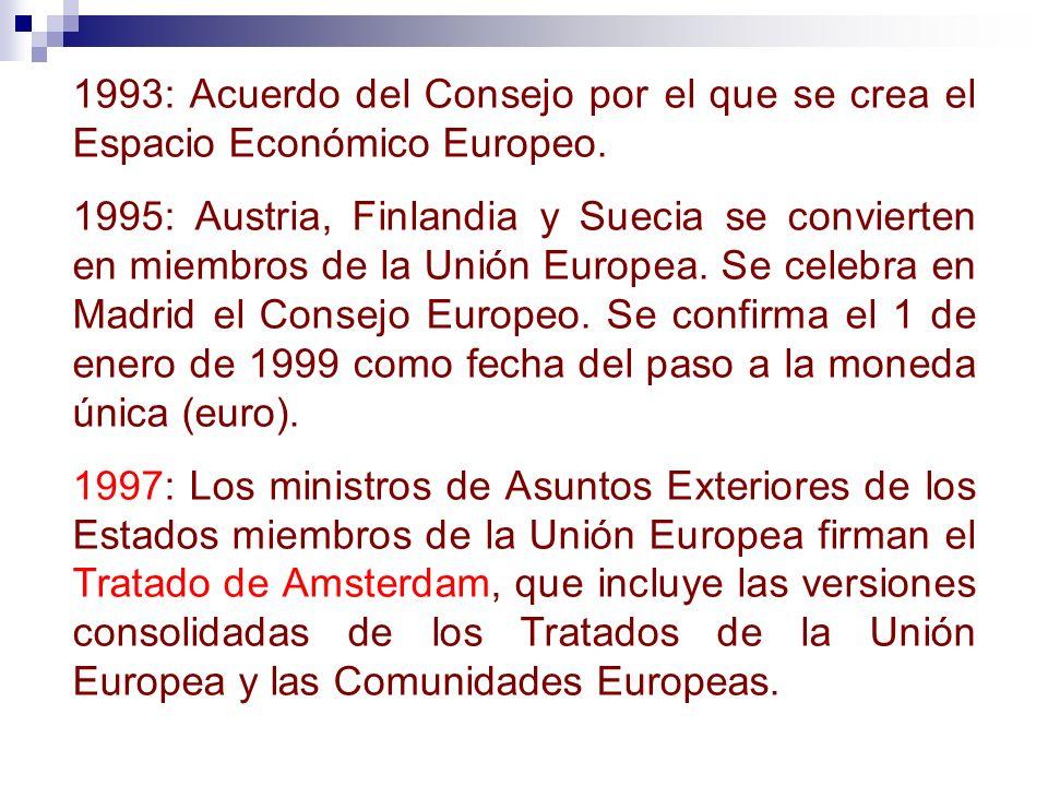 1993: Acuerdo del Consejo por el que se crea el Espacio Económico Europeo. 1995: Austria, Finlandia y Suecia se convierten en miembros de la Unión Eur