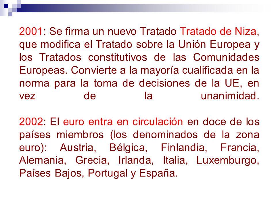 2001: Se firma un nuevo Tratado Tratado de Niza, que modifica el Tratado sobre la Unión Europea y los Tratados constitutivos de las Comunidades Europe