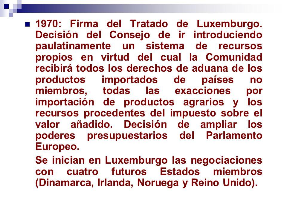 1970: Firma del Tratado de Luxemburgo. Decisión del Consejo de ir introduciendo paulatinamente un sistema de recursos propios en virtud del cual la Co