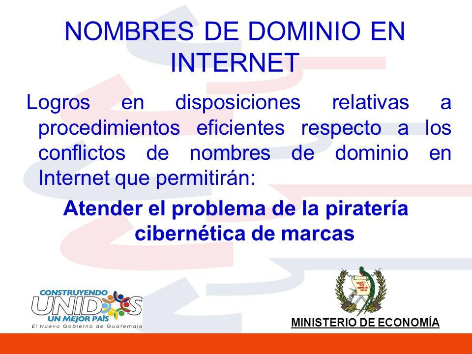 MINISTERIO DE ECONOMÍA NOMBRES DE DOMINIO EN INTERNET Logros en disposiciones relativas a procedimientos eficientes respecto a los conflictos de nombres de dominio en Internet que permitirán: Atender el problema de la piratería cibernética de marcas