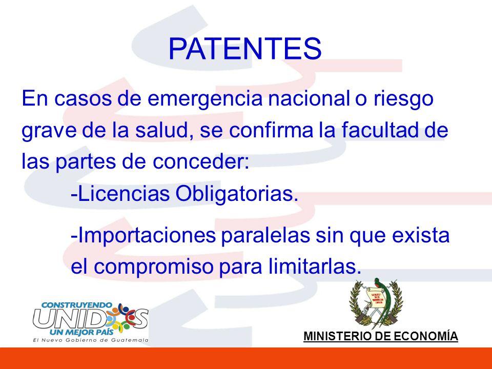MINISTERIO DE ECONOMÍA PATENTES En casos de emergencia nacional o riesgo grave de la salud, se confirma la facultad de las partes de conceder: -Licencias Obligatorias.